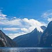 Milford Sound And Mitre Peak In Fjordland Np Nz Art Print