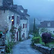 Misty Dawn In Saint Cirq Lapopie Print by Brian Jannsen