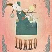 Modern Vintage Idaho State Map  Art Print