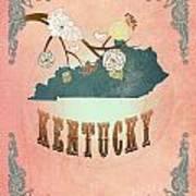 Modern Vintage Kentucky State Map  Art Print