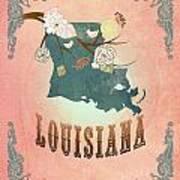 Modern Vintage Louisiana State Map  Art Print