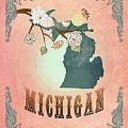 Modern Vintage Michigan State Map  Art Print