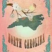 Modern Vintage North Carolina State Map  Art Print