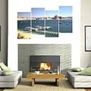 4-panel - Lake Powell Marina Art Print
