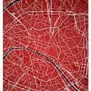 Paris Street Map - Paris France Road Map Art On Colored Backgrou Art Print