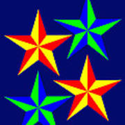 4 Patch Work Christmas Stars wish you a Merry Christmas Art Print