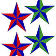 4 Patch Work Stars wish you a Merry Christmas in deep red and deep green Art Print