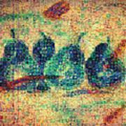 4 Pears Mosaic Art Print