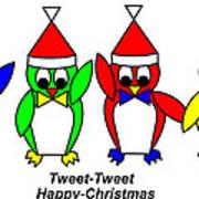 4 Penguin sons of Santa wish you a Merry Christmas Art Print