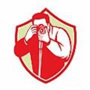 Photographer Shooting Camera Shield Retro Art Print