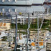 Reflections In Mikrolimano Port Art Print