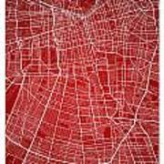 Santiago Street Map - Santiago Chile Road Map Art On Colored Bac Art Print
