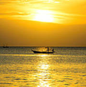 Silhouette Fisherman Are Taking Fishing Boat Art Print