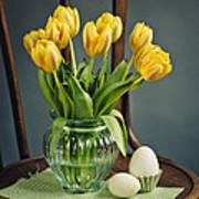 Still Life With Yellow Tulips Art Print