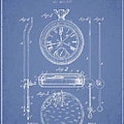 Stopwatch Patent Drawing From 1889 Art Print