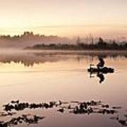 Sunrise In Fog Lake Cassidy With Fishermen In Small Fishing Boat Art Print