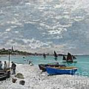 The Beach At Sainte-adresse Art Print