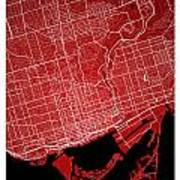 Toronto Street Map - Toronto Canada Road Map Art On Colored Back Art Print