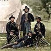 4 Union Officers Of The 4th Pennsylvania Cavalry Art Print