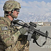 U.s. Army Specialist Provides Security Art Print