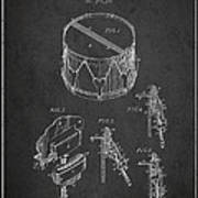 Vintage Snare Drum Patent Drawing From 1889 - Dark Art Print