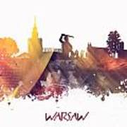 Warsaw City Skyline Art Print