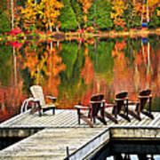 Wooden Dock On Autumn Lake Art Print by Elena Elisseeva