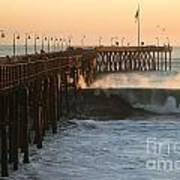 Ocean Wave Storm Pier Art Print