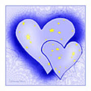 457 - Two Hearts Blue Art Print