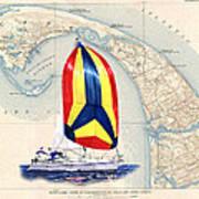 39 Foot Beneteau Cape Cod Chart Art Art Print