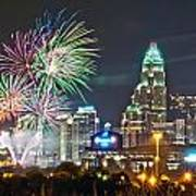 4th Of July Firework Over Charlotte Skyline Art Print