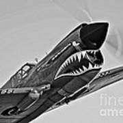 A Curtiss P-40e Warhawk In Flight Art Print