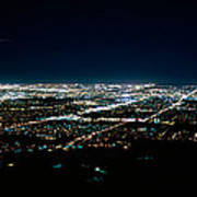 Aerial View Of A City Lit Up At Night Art Print