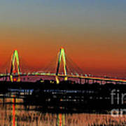 Arthur Ravenel Bridge Orange Glow Art Print