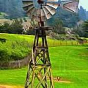 Painting San Simeon Pines Windmill Art Print