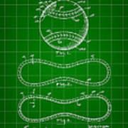 Baseball Patent 1927 - Green Art Print
