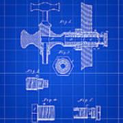 Beer Tap Patent 1876 - Blue Art Print