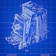 Camera Patent 1887 - Blue Art Print