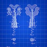 Corkscrew Patent 1886 - Blue Art Print