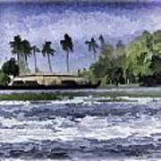 Digital Oil Painting - A Houseboat On Its Quiet Sojourn Through The Backwaters Art Print