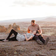 Engaged Couple At Smith Rock In Oregon Art Print