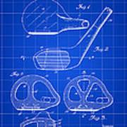 Golf Club Patent 1926 - Blue Art Print