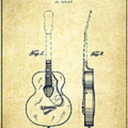 Gretsch Guitar Patent Drawing From 1941 - Vintage Art Print by Aged Pixel