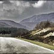 Highway Running Through The Wilderness Of The Scottish Highlands Art Print