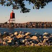 Lighthouse In Lake Michigan Nature Scenary Near Racine Wisconsin Art Print