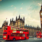London Uk Red Bus In Motion And Big Ben Art Print