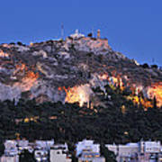 Lycabettus Hill During Dusk Time Art Print