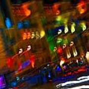 Moving Fast In The Town At Night  Art Print