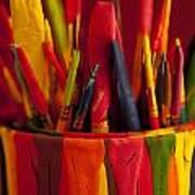 Multi Colored Paint Brushes Art Print