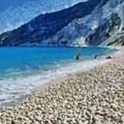 Myrtos Beach In Kefallonia Island Art Print